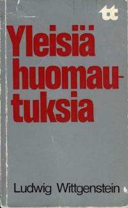 Ludwig Witgensteinin kirjan Yleisiä huomautuksia kansi
