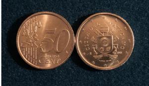 50 sentin kolikon klaava- ja kruunapuolet