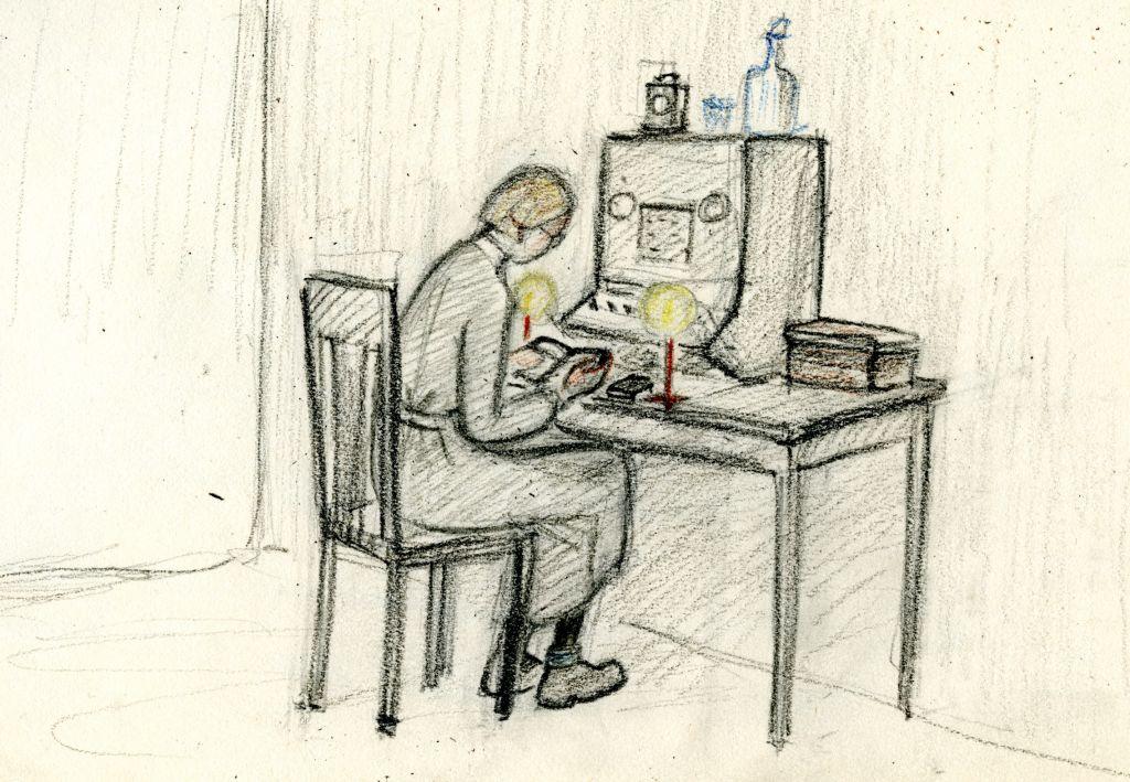 piirroskuva, jossa nainen istuu keskuksessa