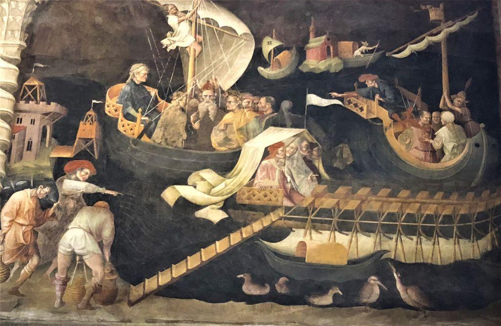 Fresco italialaisesta kirkosta, jossa kuvatann tietäjät veneissä