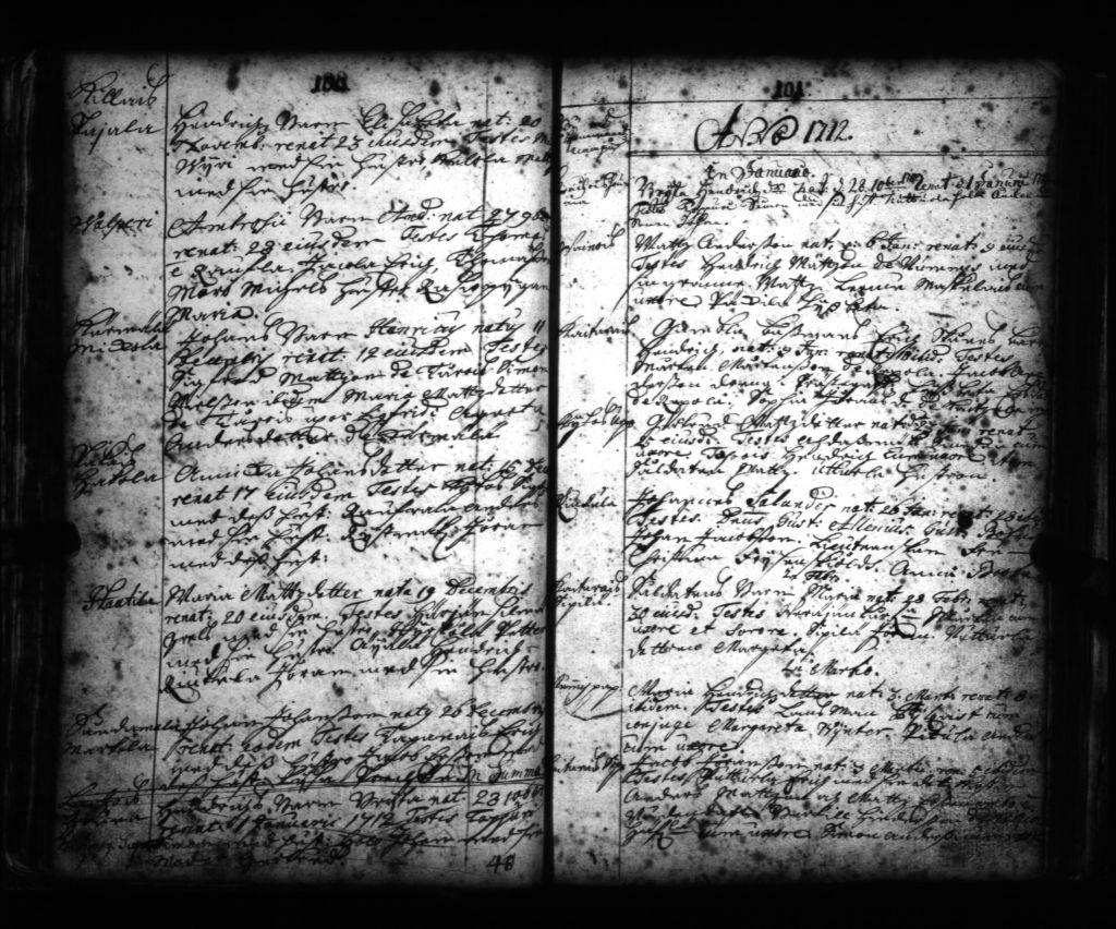 kuva Nousiaisten seurakunnan vanhoista kirkonkirjoista