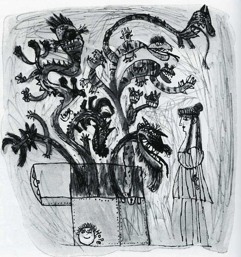 Pandoran lipas, mustavalkoinen piirroskuva